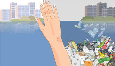 Environmental disaster of plastic debris in the ocean. Pile garbage in the sea. Waste and trash in the city. Plastic straws on the coast. Concept of ecology and World Cleanup Day.