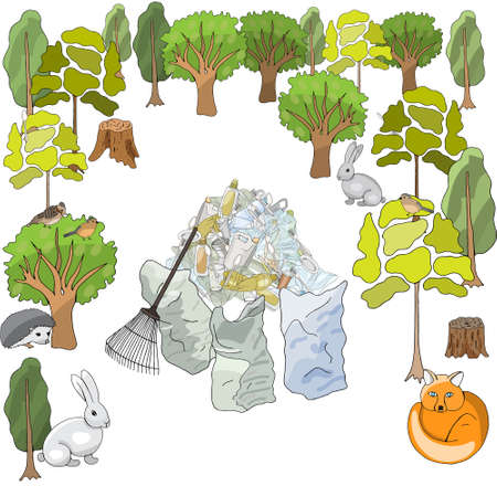 Pollution of the environment. Garbage and waste in forests, in wildlife. Different types of garbage. Vector hand draw collection. Concept of Recycles Day, World Cleanup Day and ecology