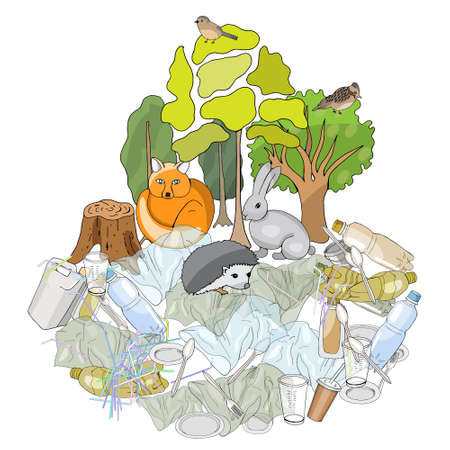 Pollution of the environment. Full trash can. Garbage and waste in forests, in wildlife. Different types of garbage. Vector hand draw collection. Concept of Recycles Day, World Cleanup Day and ecology 矢量图像