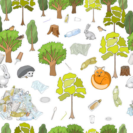 Seamless pattern. Pollution of the environment. Garbage and waste in forests, in wildlife. Different types of garbage. Vector hand draw collection. 矢量图像