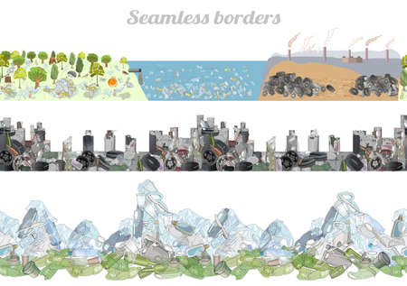 Vector set of seamless borders with plastic garbage and straws on the ocean and mountains. Waste vector hand drawn collection. The problem of cleaning and separation of trash. Concept of Recycles Day,