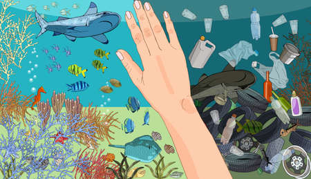 The concept of ecological catastrophe of garbage and waste in the ocean. 矢量图像