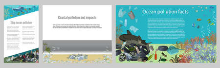 Set of vector template with different types of plastic garbage and chemical waste to the ocean. Ecology concept. 矢量图像