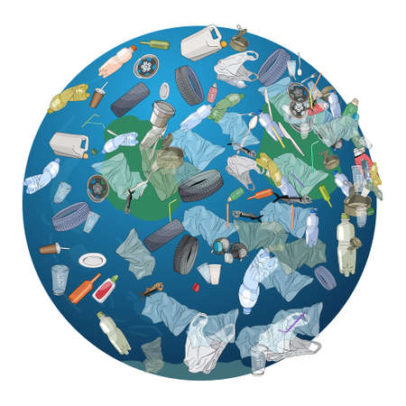 The pollution, garbage, plastic, bags on the planet. The concept of ecology and the World Cleanup Day. Vector hand drawn illustration isolated on white background.