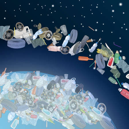 The problem of pollution of the planet. Space debris. The garbage, plastic, bags on the planet. The concept of ecology and the World Cleanup Day. Vector illustration