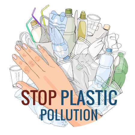The refusal of disposable plastic drinking straws. The problems with chemical wastes disposal. Stop plastic pollution, vector illustration.