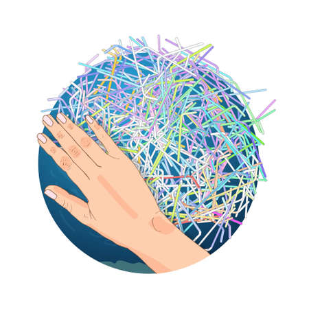 The refusal of disposable plastic drinking straws. The problems with chemical wastes disposal. Say no to plastic straws, vector illustration.