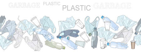 Different kinds of plastic garbage. Seamless pattern brush. The concept of ecology and the World Cleanup Day.
