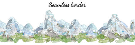 Different types of garbage in the form of mountains. Seamless pattern brush. The concept of ecology and the World Cleanup Day.