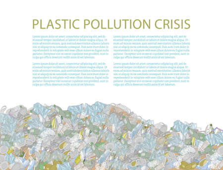 Template with a heap of garbage. A pile of plastic trash and straws isolate on white. The problems with chemical wastes disposal. Vector illustration. The concept of ecology and World Cleanup Day. 矢量图像