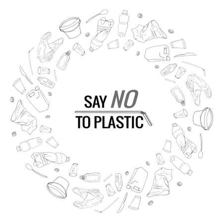 Say no to plastic text and plastic package line icons sign around circle vector design - Vector. Environmental disaster of plastic debris in the city. Garbage on the coast in the ocean and in the sea.