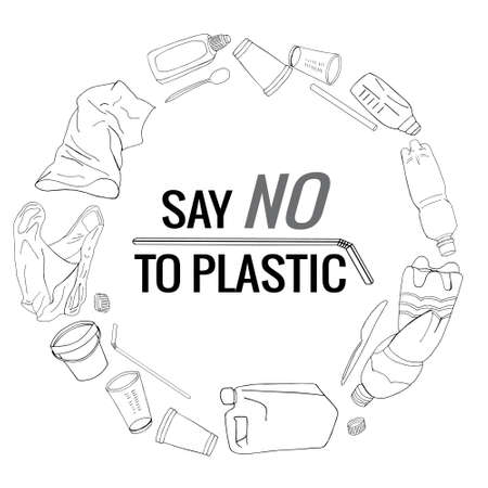 Say no to plastic text and package line icons sign around circle vector hand drawn design. The problem of cleaning and separation of garbage. The concept of ecology. 矢量图像