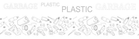 Outline seamless vector border with sorted plastic garbage isolated on white. Collection of patterns with separate debris. Hand drawn background of trash. Concept of Recycles Day, World Cleanup Day. 矢量图像