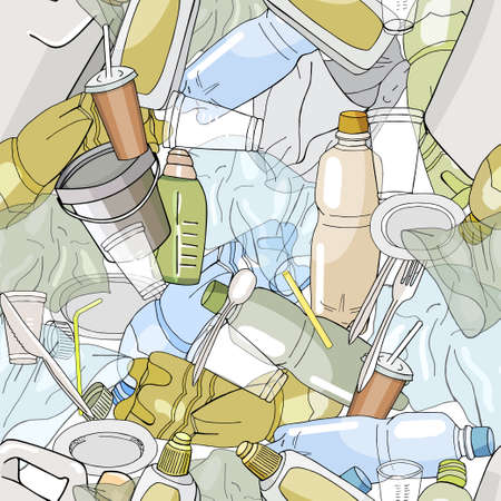 Seamless pattern with different kinds of plastic garbage. The concept of ecology and World Cleanup Day. 矢量图像