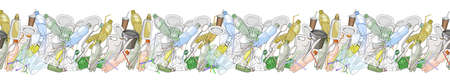 Seamless border with sorted plastic garbage isolated on white. Concept of Recycles Day, World Cleanup Day and ecology.