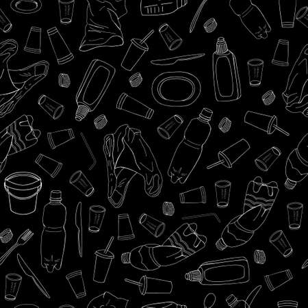 Outline seamless pattern with sorted plastic garbage isolated on white background. Separate debris collection. Vector hand drawn set of trash. Concept of Recycles Day, World Cleanup Day and ecology.