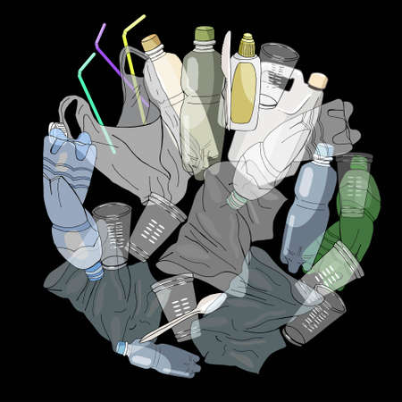 Big waste Set Of Transparent Empty Packaging. Plastic Trash. Vector hand drawn collection of rubbish. Concept of Recycles Day, National Reuse Day and ecology.