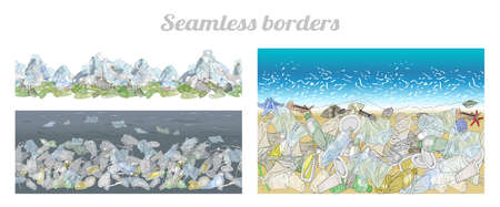 Vector set of seamless borders with plastic garbage and straws on the ocean and mountains. Vector hand drawn collection. The problem of cleaning and separation of garbage. Concept of Recycles Day,