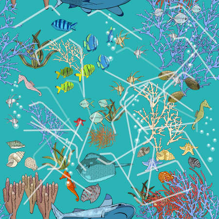 Seamless pattern with garbage in the ocean. The problems with chemical wastes disposal. Stop plastic pollution on sea, vector illustration.The concept of ecology and the World Cleanup Day. 矢量图像