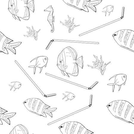 Hand drawn outline. Vector seamless pattern with garbage, plastic straws, fishes, bag, seaweed, plastic utensils. The concept of environmental pollution. 矢量图像