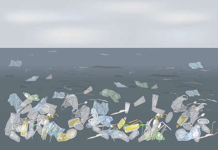 Environmental disaster of plastic straws, pollution, waste in the ocean. Garbage in the sea against the sky as a backdrop. The concept of ecology and the World Cleanup Day. 矢量图像