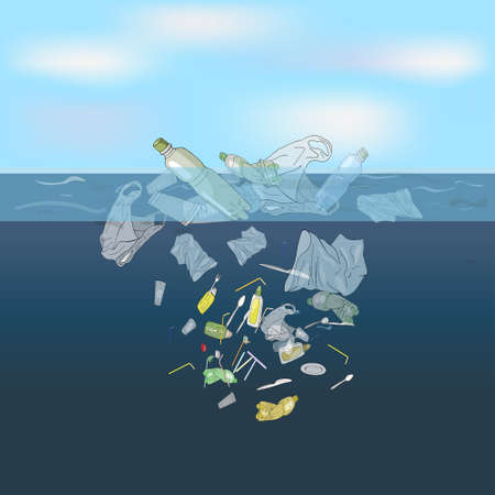 The refusal of disposable plastic drinking straws. The problems with chemical wastes disposal. Say no to plastic straws, Stop plastic pollution on sea, vector illustration.