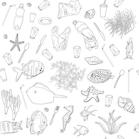 Hand drawn outline. Vector seamless pattern with garbage, plastic straws, fishes, bag, seaweed, plastic utensils. The concept of environmental pollution. Vectores