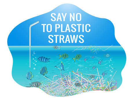 The refusal of disposable plastic drinking straws. The problems with chemical wastes disposal. Stop plastic pollution on sea, vector illustration. Vector hand drawn poster. Concept of Recycles Day,