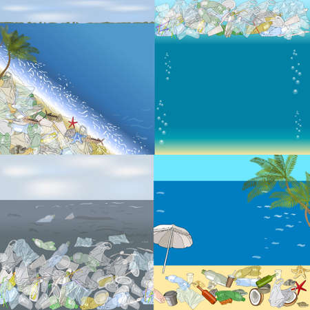 Environmental disaster of plastic debris in the ocean. Garbage on the coast against the sky as a backdrop. Garbage and waste in forests, in wildlife. 矢量图像