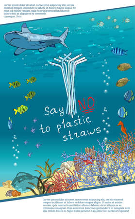 The refusal of disposable plastic drinking straws. The problems with chemical wastes disposal. , Stop plastic pollution on sea, vector illustration.The concept of ecology and the World Cleanup Day.