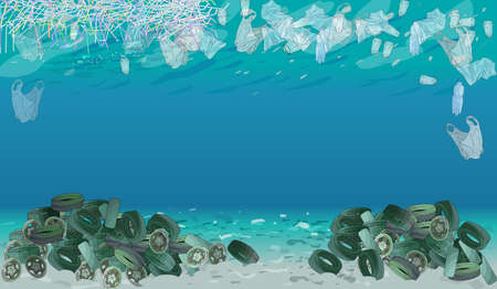 Template with different kinds of garbage, bags, wastes, plastic straws and plastic utensils in the ocean or sea. The concept of ecology and World Cleanup Day. 矢量图像