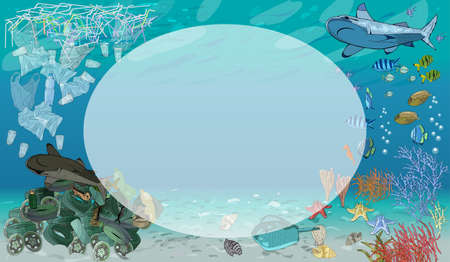 Vector template with different types of plastic garbage and chemical waste to the ocean. Ecology concept. 矢量图像