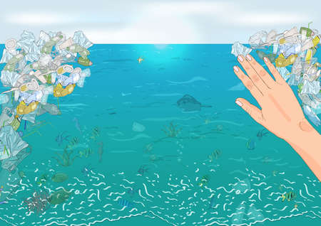 Environmental disaster of plastic debris in the ocean. The concept of ecology and World Cleanup Day. 矢量图像