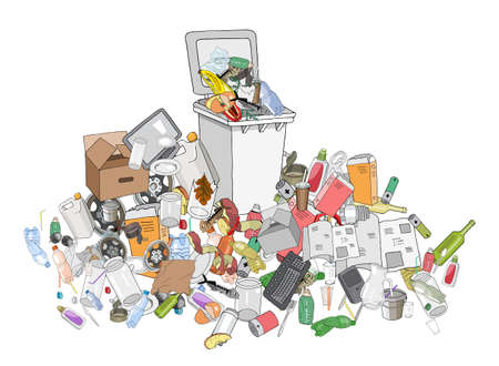 Vector illustration of Trash can. Hand draw collection of different trash. Concept of Recycles Day and ecology