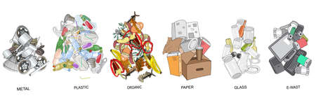 Sorted garbage set. Different types of garbage heap - Organic, Plastic, Metal, Paper, Glass, E-waste. Vector hand draw collection. Concept of Recycles Day, World Cleanup Day and ecology. 矢量图像