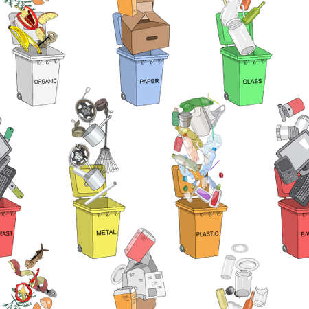 Seamless pattern. Trash cans with sorted garbage set. Different types of garbage - Organic, Plastic, Metal, Paper, Glass, E-waste. 矢量图像