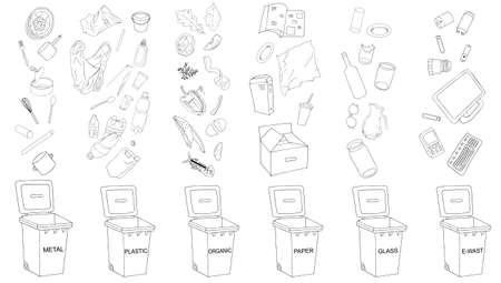 Trash cans with sorted garbage set. Different types of garbage - Organic, Plastic, Metal, Paper, Glass, E-waste. Vector collection of trash bins.