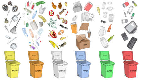 Trash cans with sorted garbage set. Different types of garbage - Organic, Plastic, Metal, Paper, Glass, E-waste. Vector hand draw collection of colorful trash bins. 矢量图像