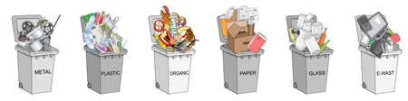 Trash cans with sorted garbage set. Different types of garbage - Organic, Plastic, Metal, Paper, Glass, E-waste. Vector hand draw collection of colorful trash bins. Concept of Recycles Day and ecology