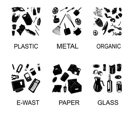 Garbage waste recycling icons, line symbols of different waste sorting. Vector illustration. Collection of trash. Hand drawn outline isolated on white background. Concept of Recycles Day,