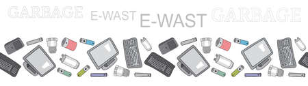Seamless border with sorted electronic waste garbage isolated on white. Vector pattern. Hand draw collection of trash.
