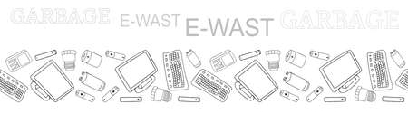 Black and white outline seamless vector border with sorted E-waste garbage isolated on white. Collection of patterns with separate debris. Hand drawn background of trash. Concept of Recycles Day, 矢量图像
