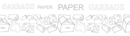 Outline seamless vector border with sorted paper garbage isolated on white. Collection of patterns with separate debris. Hand drawn background of trash. Concept of Recycles Day, World Cleanup Day. 矢量图像