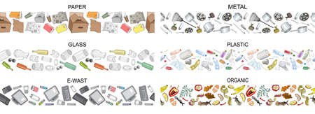 Set of seamless borders with sorted metal garbage isolated on white. Collection of patterns with separate debris. Vector pattern. Hand draw collection of trash. ConceWorld Cleanup Day and ecology.