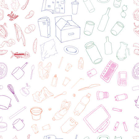 Seamless pattern with sorted paper garbage isolated on white background. Part 1 of separate debris collection. Vector hand drawn set of trash. Concept of Recycles Day, World Cleanup Day and ecology. 矢量图像