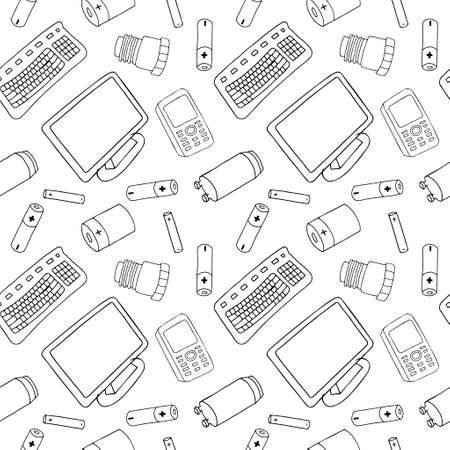 Outline seamless pattern with sorted e-wast garbage isolated on white background. Part 2 of separate debris collection. Vector hand drawn set of trash.