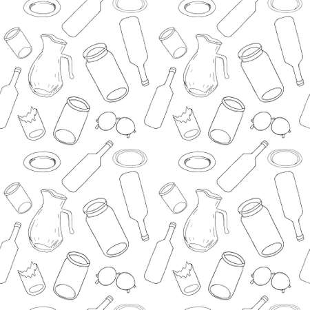 Outline seamless pattern with sorted glass garbage isolated on white. Part 8 of separate debris collection. Vector hand drawn set of trash. Concept of Recycles Day, World Cleanup Day and ecology.