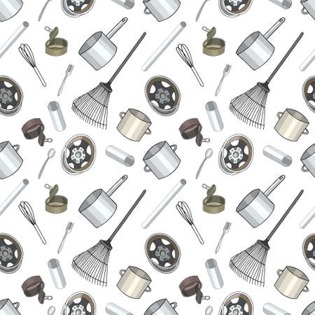 Seamless pattern with sorted metal garbage isolated on white background. Part 3 of separate debris collection. Vector hand drawn set of trash. Concept of Recycles Day, World Cleanup Day and ecology. 矢量图像