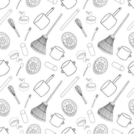 Outline seamless pattern with sorted metal garbage isolated on white background. Part 3 of separate debris collection. Vector hand drawn set of trash. 矢量图像
