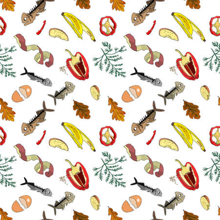 Seamless pattern with sorted organic garbage isolated on white background. Part 4 of separate debris collection. Vector hand drawn set of trash. Concept of Recycles Day, World Cleanup Day and ecology. 矢量图像